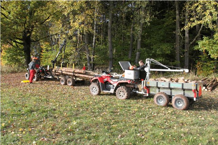 ATV Anhänger JPJ Forest Arbeiter mit Kran - Forstanhänger Vahva Jussi 320